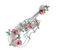 L'illustrazione grafica disegnata a mano di vettore del violino con i fiori, foglie schizza il disegno, stile di scarabocchio Lin royalty illustrazione gratis