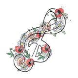 L'illustrazione grafica disegnata a mano di vettore della chiave tripla con i fiori, foglie schizza il disegno, stile di scaraboc illustrazione vettoriale