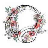 L'illustrazione grafica disegnata a mano di vettore delle cuffie con i fiori, foglie schizza il disegno, stile di scarabocchio Li illustrazione di stock