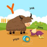 L'illustrazione ha isolato i Y-yak della lettera dell'alfabeto, yo-yo, igname illustrazione di stock