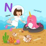 L'illustrazione ha isolato il N-narvalo della lettera dell'alfabeto, nautilus, infermiere illustrazione di stock