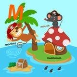 L'illustrazione ha isolato la M.-scimmia della lettera dell'alfabeto, fungo, topo illustrazione vettoriale