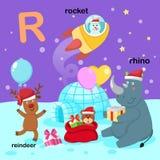 L'illustrazione ha isolato la R-renna della lettera dell'alfabeto, rinoceronte, razzo illustrazione vettoriale