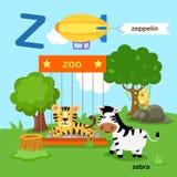L'illustrazione ha isolato lo Z-zoo della lettera dell'alfabeto, zeppelin, zebra illustrazione di stock
