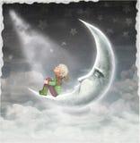 L'illustrazione mostra il ragazzo che ammira il cielo della stella illustrazione vettoriale