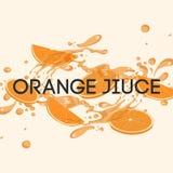 L'illustrazione o l'insegna del succo d'arancia con spruzza e ora Fotografie Stock