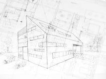 L'illustrazione od una costruzione moderna, l'architettura progetta Immagini Stock
