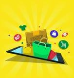L'illustrazione online di acquisto di vettore con l'icona del contenitore di sacchetto della spesa esce dallo schermo dello smart royalty illustrazione gratis