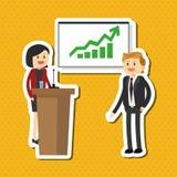 L'illustrazione piana circa le persone di affari progetta, vector il fumetto Immagine Stock