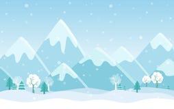 L'illustrazione piana semplice di vettore delle montagne dell'inverno abbellisce con gli alberi, i pini e le colline Fotografia Stock