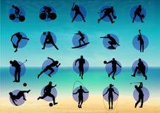 L'illustrazione rappresenta il pittogramma degli sport vari, parecchi giochi Ideale per gli sport ed i materiali istituzionali illustrazione di stock