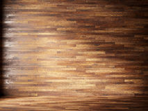 L'illustrazione rende l'interno naturale con i pannelli di parete di legno Fotografia Stock