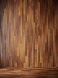 L'illustrazione rende l'interno nero con la parete di legno Fotografia Stock Libera da Diritti