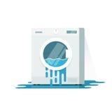 L'illustrazione rotta di vettore della lavatrice, fumetto piano ha danneggiato la rondella illustrazione di stock