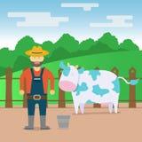 L'illustrazione rurale della mucca piana del campo, dell'agricoltore e della mucca progetta illustrazione di stock