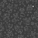 L'illustrazione senza cuciture con il fumetto divertente foxes, profilo bianco su un fondo scuro Fotografia Stock
