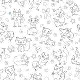 L'illustrazione senza cuciture con il fumetto divertente foxes, profilo scuro su un fondo bianco Fotografia Stock