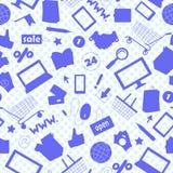 L'illustrazione senza cuciture sul tema di acquisto e di Internet online compera, icone delle siluette del blu su un pois blu del Fotografia Stock