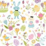 L'illustrazione sveglia disegnata a mano felice di vettore di Pasqua del modello senza cuciture con le uova del coniglio di conig fotografie stock libere da diritti