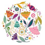 L'illustrazione variopinta di vettore stabilito di arte con i bei uccelli fiorisce Manifesto di arte per la decorazione il vostro Immagine Stock Libera da Diritti