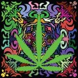 L'image colorée du cannabis poussent des feuilles dans le style d'art abstrait Image stock