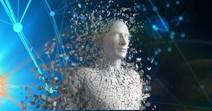 L'image composée de Digital de 3d a dispersé le chiffre humain Photographie stock libre de droits