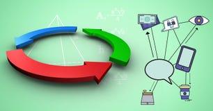 L'image composée de Digital des symboles de flèche par la bulle de causerie s'est reliée à de diverses technologies illustration libre de droits