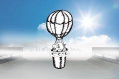 L'image composée de encaissent dedans le griffonnage chaud de ballon à air Image stock