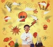 L'image composée de l'élève mignon s'est habillée comme scientifique Photographie stock libre de droits