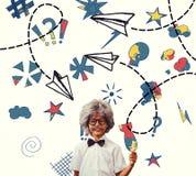 L'image composée de l'élève s'est habillée dans la perruque image libre de droits