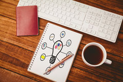 L'image composée de l'image composée de l'ampoule s'est reliée à de diverses icônes contre le backgrou blanc Photographie stock libre de droits