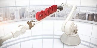 L'image composée de l'image composée des mains robotiques mécaniques tenant le nuage textotent Photo libre de droits