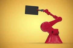L'image composée de l'image composée numérique du robot rouge et l'ordinateur marquent sur tablette 3d Images stock