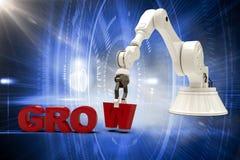 L'image composée de l'image de l'arrangement robotique de bras élèvent le texte 3d Photographie stock libre de droits