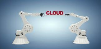 L'image composée de l'image générée par ordinateur des mains robotiques mécaniques tenant le nuage textotent Photographie stock