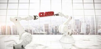 L'image composée de l'image générée par ordinateur des mains robotiques tenant le nuage textotent Photo stock
