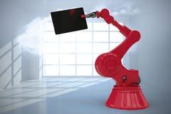 L'image composée de l'image graphique du comprimé numérique s'est tenue par la machine 3d Images libres de droits