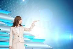 L'image composée de la femme d'affaires avec distribuent Photo libre de droits