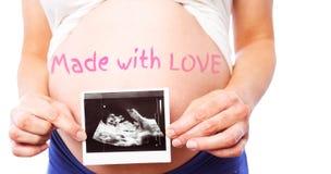 L'image composée de la femme enceinte montrant l'ultrason balaye Photographie stock