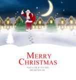 L'image composée de la livraison de Santa présente au village Photos stock