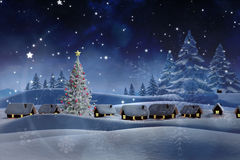 L'image composée de la neige a couvert le village Photo libre de droits