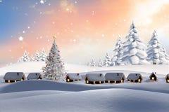 L'image composée de la neige a couvert le village Photographie stock libre de droits