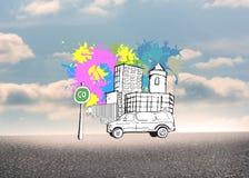 L'image composée de la rue de ville avec le fourgon sur la peinture éclabousse Photos libres de droits