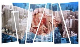 L'image composée de la vue de côté des peuples d'affaires remet la secousse Photographie stock libre de droits