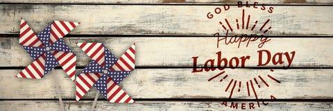 L'image composée de l'image composée numérique de la Fête du travail heureuse et le dieu bénissent le texte de l'Amérique illustration de vecteur