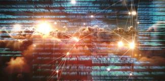 L'image composée de rougeoyer pointille avec les canalisations de raccordement au-dessus des nuages image libre de droits