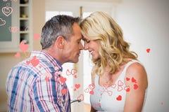 L'image composée des coeurs de couples et de valentines conçoivent 3d Photo libre de droits