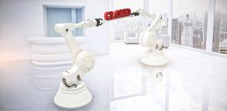 L'image composée des mains robotiques contenant des données rouges textotent sur le fond blanc Photographie stock