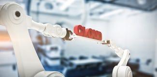 L'image composée des mains robotiques mécaniques tenant le nuage textotent Image libre de droits