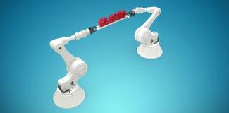 L'image composée des mains robotiques métalliques tenant le nuage rouge textotent au-dessus du fond blanc Photographie stock libre de droits